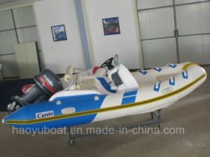 4.2m Rib420b Boat with CE Fiberglass Rigid Hull Inflatable Boat with Outboard Motor Fishing Boat pictures & photos