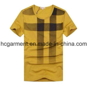 Cotton V-Neck Solid Yellow Color Cotton T-Shirt for Man pictures & photos