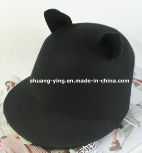 Wool Bowler Hat Cat Ear Cap (YM1612001-3)