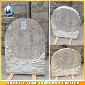 Grey Granite Kashmir White Upright Carved Headstone pictures & photos