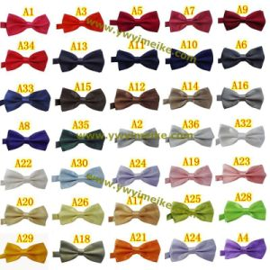 Popular Party Performance Unisex Plain Color Satin Bowtie 36 Solid Colors in Stock pictures & photos
