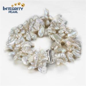 Freshwater Keshi 5-7mm 3 Rows 925 Sterling Silver Women Pearl Bracelet