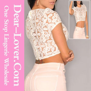 White Crochet Unlined Cropped Top pictures & photos