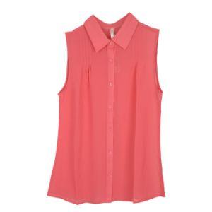 Women Fashion Clothes Plain Woven Heavy Chiffon Sleeveless Blouse Shirt pictures & photos