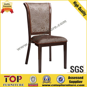Hotel Imitate Wood Classy Back Metal Dining Chair pictures & photos