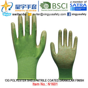 13G Polyester Shell Nitrile Coated Gloves (N1601) Granular Finish with CE, En388, En420, Work Gloves pictures & photos