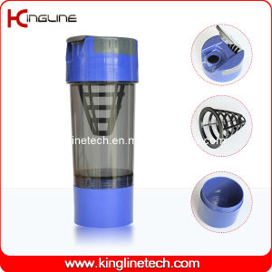 600ml Plastic Protein Shaker Bottle with Filter and Containers (KL-7008) pictures & photos