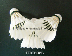 Cheapest Goose/Duck Feather Badminton Shuttlecocks with 3 Layers Cork Wood Head for Sports and Training pictures & photos