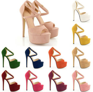 Multi Colour Style Leather High Heel Women Shoe