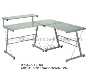 2014 New Metal Computer Desk with Tempered Glass Desktop (RX-109)