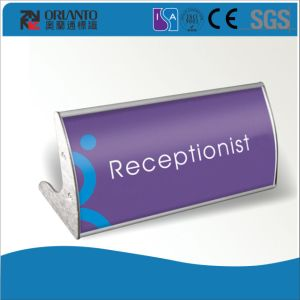 Aluminium End Cap Anodized Silver Paper Insert Table Sign pictures & photos