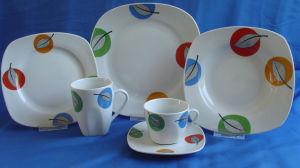 24PCS Square Porcelain Dinnerware Set, Denner Plate, Soup Plate