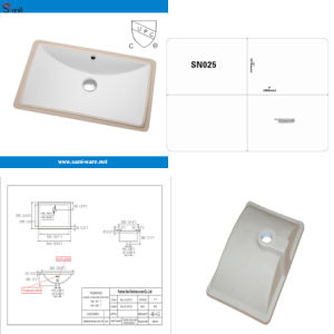 Cupc Middle Size Rectangular Ceramic Washbasin (SN025) pictures & photos