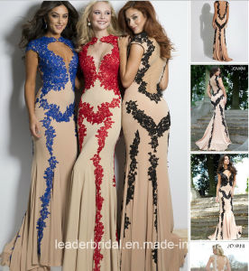Sheer Party Prom Cocktail Gowns Black Embroidery Evening Dresses J2015 pictures & photos