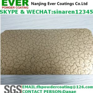 Electrostatic Spray Crack Effect Finish Gold Color Powder Coating pictures & photos
