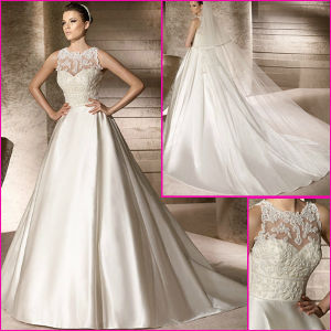 Beading Lace Satin Wedding Dresses Sheer Neck Long Bridal Gowns (AA108) pictures & photos