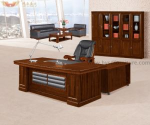 L Shape Dark Brown E1 MDF Veneer Color Office Table for Office Furniture (HY-8718) pictures & photos