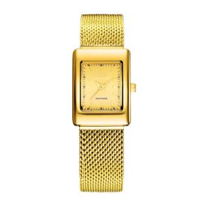 Ladies Wristwatch Fashion Net Band Gold Electro Plated Watch pictures & photos