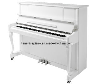 Chloris White Polish Straight Leg Upright Piano (HU-123W)