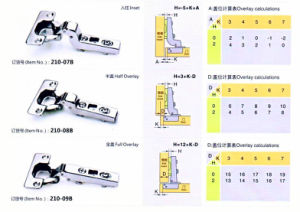 210-07b Clip-on Hole Hinge Two Way, with Adjustable Plate pictures & photos