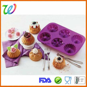 Wholesale Six Cavity Silicone Flower Cupcake Pan pictures & photos