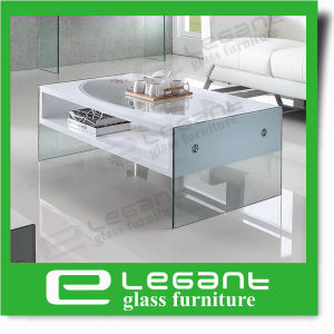 MDF Coffee Table with Glass Top in White Color pictures & photos