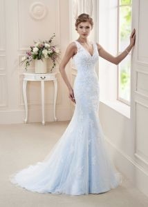 Blue Lace Bridal Evening Gown Mermaid Wedding Dress H1815 pictures & photos