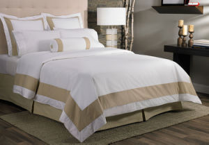 600thread Count Egyptian Cotton White Hotel Embroidery Duvet Cover Set pictures & photos