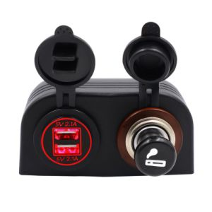 Car Motorcycle Dual 4.2A USB Charger 12V/24V Cigarette Lighter Socket pictures & photos