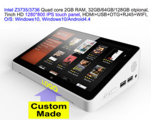 Custom Made 7inch HD Screen Touch Panel Dual Boot Android4.4/Windows10 Intel 3735/3736 2GB/32GB IPTV Streaming TV Box PC Box RJ45 USB pictures & photos
