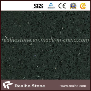 Popular Black Glass Quartz Stone Countertops for Kitchen pictures & photos