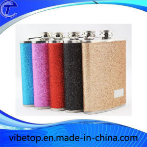 Stainless Steel Hip Flask with Bling Matte Polishing (WB-05) pictures & photos
