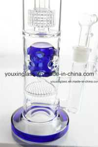 Glass Smoking Pipe Glass Water Pipe with Little Tyre and Blue Holey Drum Honeycomb pictures & photos