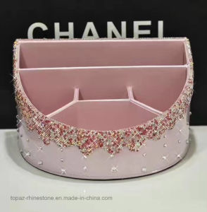 Multifunctional Pink Rhinestone Diamond Container Home Office Car Storage Box (TBB-025) pictures & photos