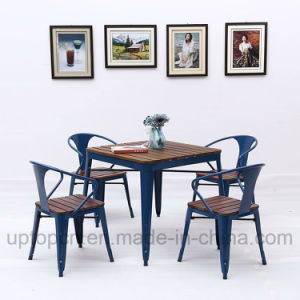Industrial Style Metal Restaurant Table and Chair with Wooden Top (SP-CT774) pictures & photos