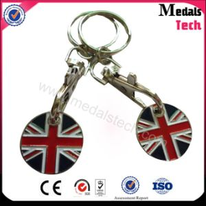 UK Flag Metal Key Chain Trolley Token for Business Gift pictures & photos