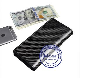 New Arrival Fashion Leather Carbon Fiber Slim Wallet Women Man pictures & photos