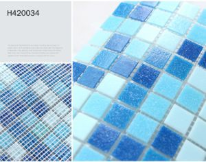 Wholesale Blue Color Glass Mosaic for Pool and Bathroom (H420034) pictures & photos