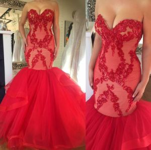 Red Lace Bridal Wedding Dress Tulle Sweetheart Wedding Gown W15231 pictures & photos