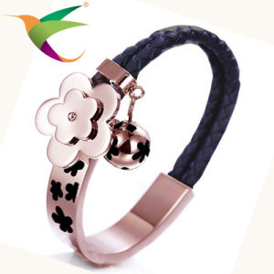 Stlb-17011005 Stainless Steel Plum Leather Bracelet for Woman