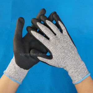 13G Nylon and Hppe and Glassfiber Liner Coated PU Cut Resistant Level 5 Working Safety Gloves pictures & photos