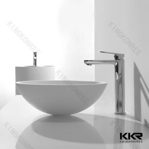 Small Size Round Stone Acrylic Solid Surface Bathroom Vanity Wash Basins pictures & photos