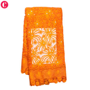 New Arrival Fashion Embroidery Orange African Tulle Lace Fabric Tulle pictures & photos