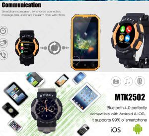 Multilingual! Smart Waterproof Watch No. 1 A10 Clock Sync Notifier Support Mic Bluetooth for Android Phone Smart Watch Gray Color pictures & photos