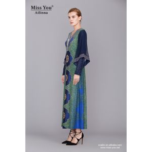 Miss You Ailinna 801893 Women V-Neck Fancy Cotton Long Dress with Mesh Sleeve pictures & photos