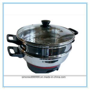 Stainless Steel Double-Layer Composite Bottom Steamed Saucepan Frypan pictures & photos