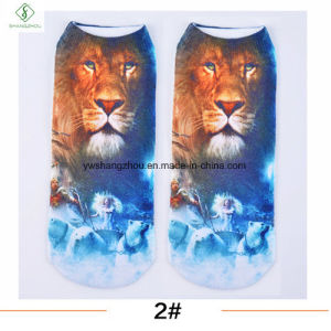 Europe New Factory 3D Cat Printed Cartoon Custom Boat Socks pictures & photos