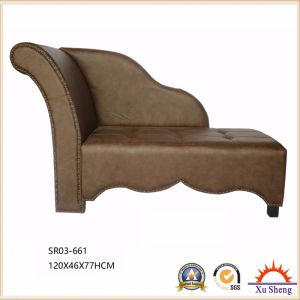 Living Room Furniture Wooden Faux Leather Button Tufted Chaise Lounge Bench pictures & photos