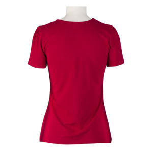 Candow Clothing Hot Sale Design Women′s Clothes V Neck Red Black T-Shirt pictures & photos