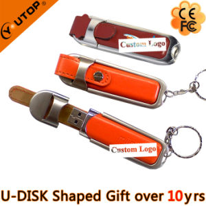 Fullcolor/Coining Custom Logo Gift Leather USB Drive (YT-5104) pictures & photos